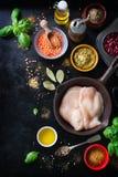 Рамка еды, предпосылка еды, варить или здоровая концепция еды на винтажной предпосылке Стоковая Фотография