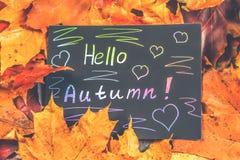 Рамка желтых и оранжевых кленовых листов осени на сером темном бетоне Черная плита с покрашенным текстом Надпись здравствуйте! au стоковое фото