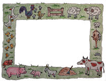 рамка животной фермы иллюстрация вектора