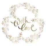 Рамка завтрак-обеда золота руки вычерченная круглая и рукописная цитата чернил с любовью, изолированной на белой предпосылке смеш иллюстрация вектора