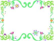 Рамка зеленых лоз и бабочек Стоковое Изображение RF