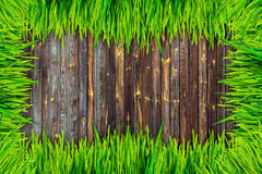 Рамка зеленой травы и предпосылка доск коричневого цвета стоковое изображение rf