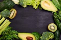 Рамка зеленых овощей Стоковые Фотографии RF