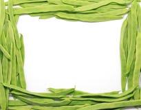 Рамка зеленых фасолей на белизне Стоковые Фотографии RF