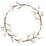 Рамка зимы с ветвями дерева и снега Сезонная иллюстрация Стоковое Изображение RF