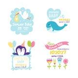 Рамка значка штемпеля стикера логотипа insignias дня матерей значка детского душа счастливые и дизайн карточки doodle винтажная р Стоковое фото RF