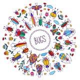 Рамка значков doodle насекомых черепашок круглая Стоковая Фотография