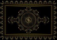Рамка золота с блокировать овальный орнамент в центре и границу изогнутых прокладок с листьями и звездами в двойной рамке дальше иллюстрация вектора