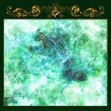 Рамка золота флористическая на зеленом камне бесплатная иллюстрация