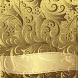 Рамка золота винтажная флористическая Стоковое Фото