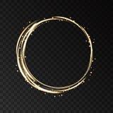 Рамка золота неоновая круглая с световыми эффектами Стоковая Фотография