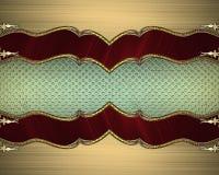 Рамка золота с красными краями Элемент для конструкции Шаблон для конструкции скопируйте космос для брошюры объявления или пригла Стоковое фото RF