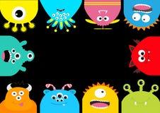 Рамка изверга Набор символов милого шаржа страшный Различная эмоция Собрание младенца Черная предпосылка Счастливый хеллоуин ca Стоковая Фотография