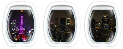 Рамка иллюминатора на городском пейзаже токио Стоковое Изображение