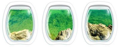 Рамка иллюминатора на скалах береговой линии Стоковые Фотографии RF