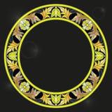 Рамка иллюстрации цветного стекла с флористическими, золотыми цветками и листьями на темной предпосылке Стоковая Фотография RF