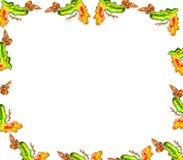 Рамка листьев и жолудей дуба иллюстрация вектора