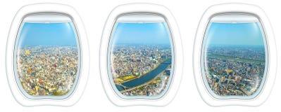 Рамка иллюминатора на горизонте Sumida токио Стоковое Изображение