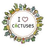 Рамка кактуса цвета круглая Собрание красочной кактусов нарисованных рукой изолированных на белой предпосылке иллюстрация штока
