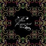 Рамка картины вектора вышивки флористическая безшовная в стиле барокко Стоковые Изображения RF
