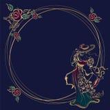 Рамка, карточка красивейшая стильная женщина В шляпе, с зонтиками рамка круглая Золото Цветы вектор иллюстрация вектора