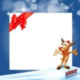 Рамка карточки подарка северного оленя Стоковые Изображения RF