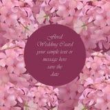 Рамка карточки флористического цветения круглая Акварель лета весны чувствительная цветет приглашение свадьбы установьте текст ве Стоковое Фото