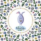 Рамка квадрата флористическая с кроликом, яйцами и литерностью приветствуя доску на прозрачной предпосылке иллюстрация вектора