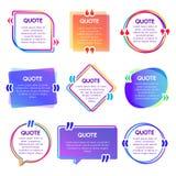 Рамка коробки цитаты Рамки текста помина, пузырь речи примечания и предложения закавычат набор вектора коробок слов иллюстрация штока