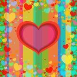 Рамка красного цвета сердца Предпосылка праздника с сердцами вектор Иллюстрация вектора