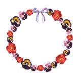 Рамка круга акварели красных, пурпурных, розовых фиолетов и пурпурного смычка иллюстрация вектора