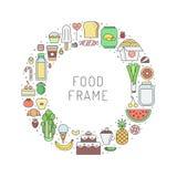 Рамка круга плана бакалейной лавки еды и пить часть 2 Стоковое фото RF