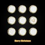 Рамка круга рождества с золотыми снежинками и место для текста иллюстрация вектора