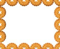 Рамка круглого печенья на белой предпосылке Стоковое Изображение RF