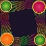 Рамка 4 круглых элементов различных размеров с красочными линиями Стоковое Изображение