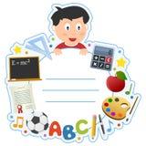 Рамка крышки книги мальчика школы бесплатная иллюстрация