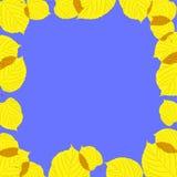 Рамка листьев осени на голубой предпосылке Стоковые Изображения
