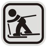Рамка лыжника, мужчины и лыжи, черных и серых Стоковые Фотографии RF