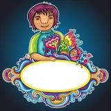 рамка мальчика курчавая милая Стоковые Изображения
