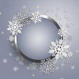 Рамка металла рождества с снежинкой. Стоковые Изображения