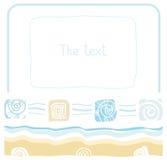Рамка, море, океан, пляж, песок, раковина, моллюск, цвет, плоский Иллюстрация штока