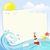 Рамка моря с элементами моря Стоковая Фотография RF