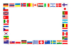 Рамка национальных флагов различные страны изолированного мира Стоковая Фотография RF