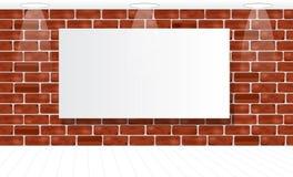 Рамка на кирпичной стене для вашей рекламы загорано mock иллюстрация вектора