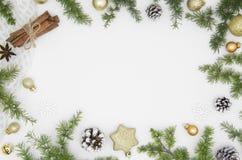 Рамка Нового Года для рождества состава литерности руки веселого изолированная на белом ackground Украшения рождества, ель стоковое фото rf