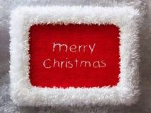 Рамка Новый Год с вышитым с Рождеством Христовым Стоковая Фотография
