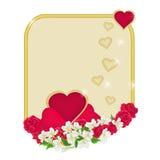 Рамка дня валентинки сердец с вектором предпосылки цветков иллюстрация штока