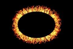 рамка огня эллипсиса изолированная на черноте Стоковое Изображение