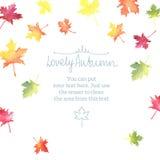 Рамка осени акварели с красочными листьями Стоковое Фото