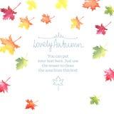 Рамка осени акварели с красочными листьями Стоковое Изображение RF